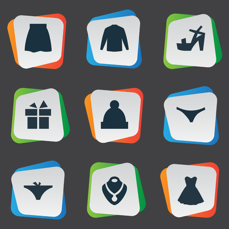Vector Illustration Set Of Simple Dress Icons. Elements Swewatshirt, Panties, Footwear And Other Synonyms Sweatshirt, Lingerie And Giftbox. Ilustração
