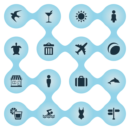 Vector Illustration Set Of Simple Beach Icons. Elements Airplane, Male, Bikini And Other Synonyms Adventure, Swimming And Airplane.