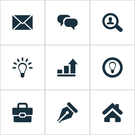 Vector Illustration Set Of Simple Job Icons. Elements Magnifier, Lamp, Nib And Other.