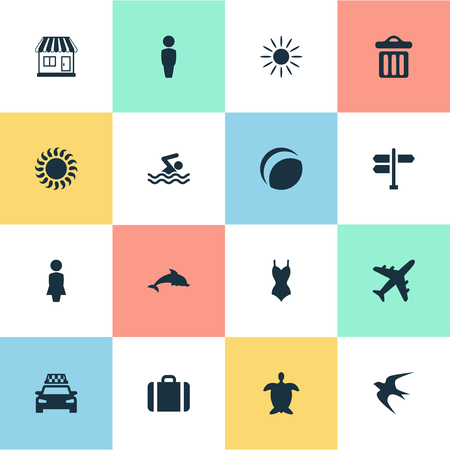 Vector Illustration Set Of Simple Seaside Icons. Elements Swallow, Woman, Crossroad And Other Synonyms Turtle, Heat And Junction.