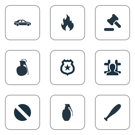 Vector Illustration Set Of Simple Crime Icons. Elements Explosive, Explode, Blaze And Other Synonyms Stick, Grenade And Automobile.