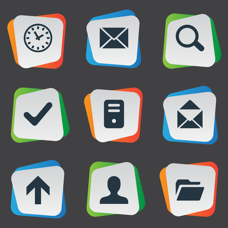 Vector Illustration Set Of Simple Apps Icons. Elements Check, Message, Computer Case And Other Synonyms Search, Arrow And Upward.