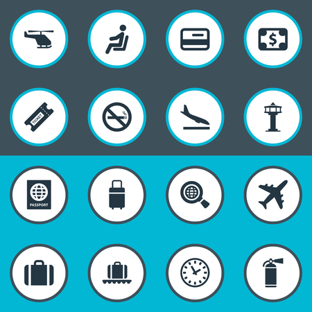 Vector Illustration Set Of Simple Travel Icons. Elements Cigarette Forbidden, Global Research, Handbag Synonyms Case, Currency And Certificate.