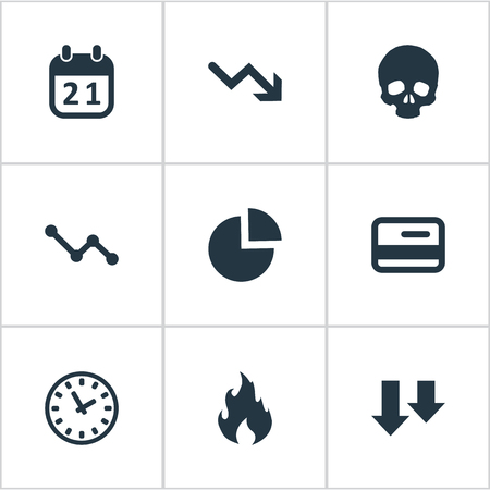chronology: Vector Illustration Set Of Simple Situation Icons. Elements Circular Diagram, Plastic Card, Clock And Other Synonyms Chart, Arrows And Fire. Illustration