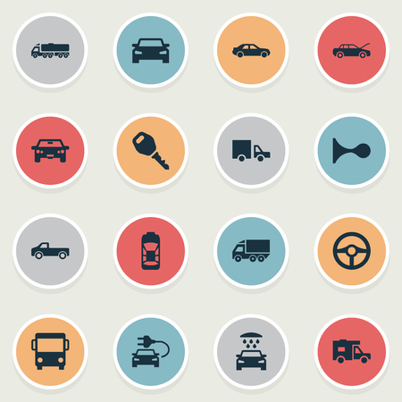 Vector Illustration Set Of Simple Automobile Icons. Elements Auto, Van, Klaxon And Other Synonyms Parking, Van And Auto.