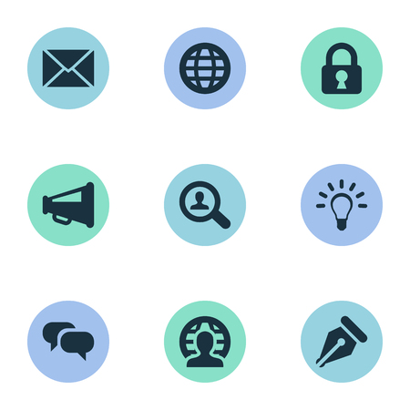 Vector Illustration Set Of Simple Job Icons. Elements Magnifier, Chatting, Human And Other Synonyms Web, Padlock And Secret.