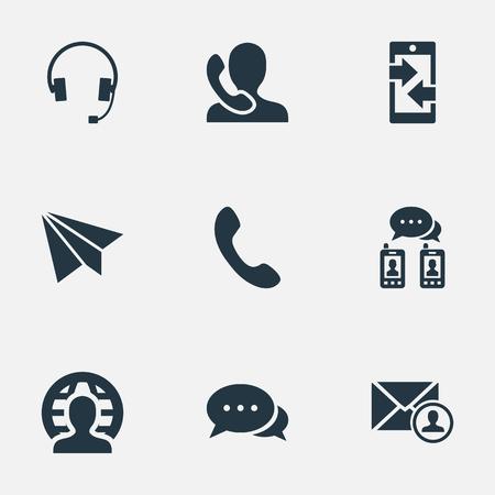 벡터 일러스트 레이 션 간단한 통신 아이콘의 집합입니다. 요소 이어폰, 게시물, 말하기 인간과 다른 동의어 서신, 전화 및 화살표. 일러스트