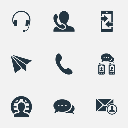 Vector Illustration Set Of Simple Communication Icons. Elements Earphone, Posting, Speaking Human And Other Synonyms Epistle, Phone And Arrows.