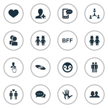 Ilustración vectorial Conjunto de iconos de simples compañeros. Elementos Pingüino, Caridad, Hablar En Línea Y Otros. Foto de archivo - 75632109