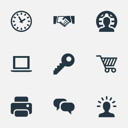 Vector Illustration Set Of Simple Commerce Icons. Elements Trading Purse, Clock, Computer And Other Synonyms Profile, Member And Machine.