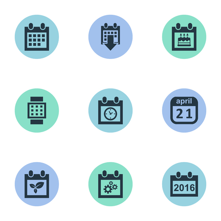 almanac: Vector Illustration Set Of Simple Date Icons. Elements Special Day, Planner, Almanac And Other Synonyms Plant, Block And Almanac. Illustration