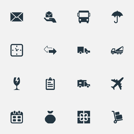 Vector Illustration Set Of Simple Surrender Icons. Elements Van , Hand , Opposite Directions Synonyms Bus, Evacuator And Envelope.