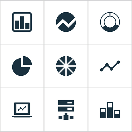 gigabyte: Vector Illustration Set Of Simple Information Icons. Elements Statistics, Economy, Growth And Other Synonyms Statistics, Pie And Cycle.