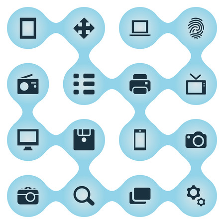 Vector Illustration Set Of Simple Digital Icons. Elements Search, Monitor, Television And Other Synonyms Schedule, Branch And Arrow. Illustration