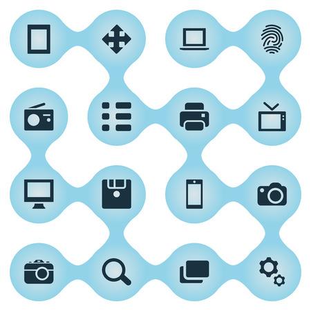 Vector illustratie Set van eenvoudige digitale iconen. Elements Search, Monitor, Television And Other Synoniemen Schedule, Branch and Arrow. Stock Illustratie