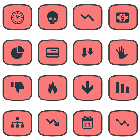 Vector Illustration Set Of Simple Trouble Icons. Elements Circular Diagram, Palm, Net And Other Synonyms Relationship, Descending And Dollar.