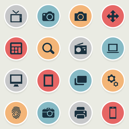 Vector Illustration Set Of Simple Technology Icons. Elements Fingerprint, Move, Smartphone And Other Synonyms Arrow, Printer And Notebook.