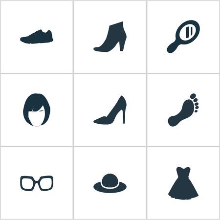 Vector illustratie Set van eenvoudige kleding pictogrammen. Elementen schoeisel, elegant hoofddeksel, kleding en andere synoniemenoptiek, voetafdruk en doek.