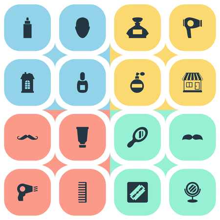 Vector Illustration Set Of Simple Beautician Icons. Elements Shaver, Human, Supermarket And Other Synonyms Razor, Male And Man. Illustration