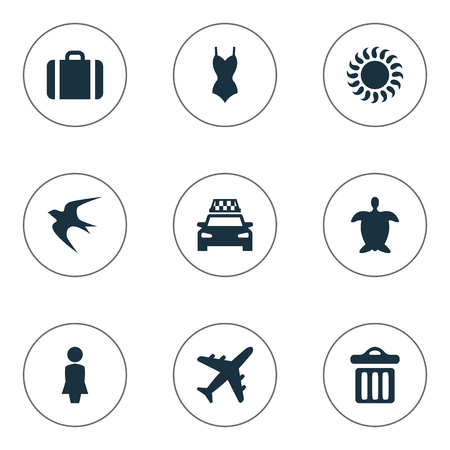 Vector Illustration Set Of Simple Seaside Icons. Elements Airplane, Swallow, Tortoise And Other Synonyms Seagull, Turtle And Sunshine. Illustration