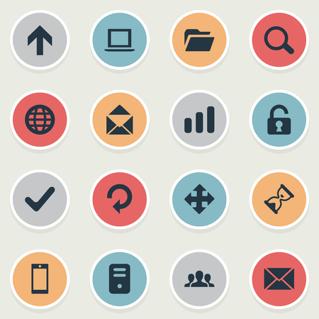 Vector Illustration Set Of Simple Practice Icons. Elements Arrows, Magnifier, Upward Direction And Other Synonyms Message, Dossier And Rotate.