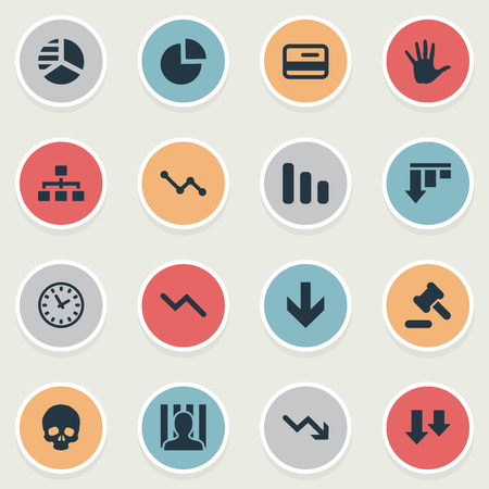 Vector Illustration Set Of Simple Situation Icons. Elements Line Chart, Bar Graph, Descending And Other Synonyms Hammer, Penitentiary And Clock. Illustration