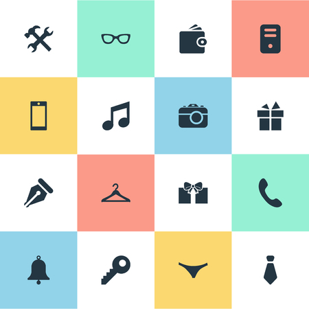 Vector Illustration Set Of Simple  Icons. Elements Billfold, Password, Gift And Other Synonyms Photo, Eyeglasses And Underwear.
