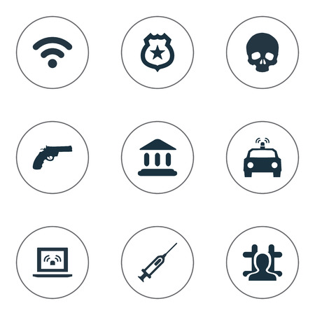 Vector Illustration Set Of Simple Fault Icons. Elements Vaccine, Arrested, Judicial House And Other Synonyms Syringe, Symbol And Library.