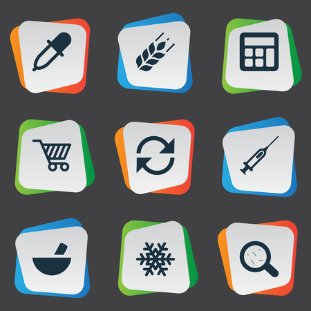 Vector Illustration Set Of Simple Harvest Icons. Elements Syringe, Pipette, Wheat And Other Synonyms Grain, Frost And Dropper. Çizim