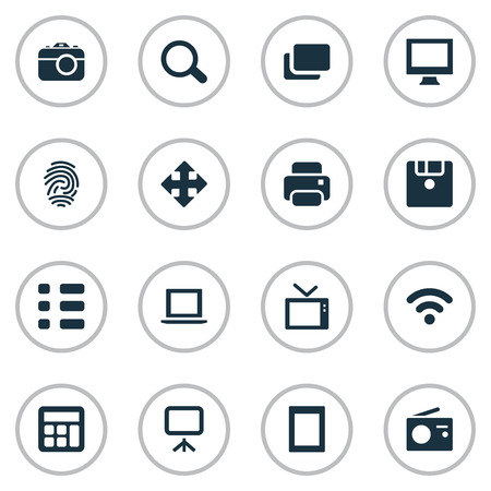 Vector Illustration Set Of Simple Hardware Icons. Elements Photocopier, Tuner, Laptop And Other Synonyms Branch, List And Monitor. Reklamní fotografie - 75237154