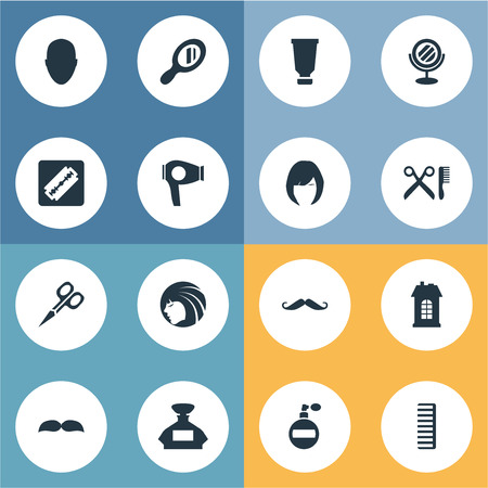 coiffeur: Vector Illustration Set Of Simple Barber Icons. Elements Cut Tool, Bottle, Peeper And Other Synonyms Reflector, Perfume And Scent.