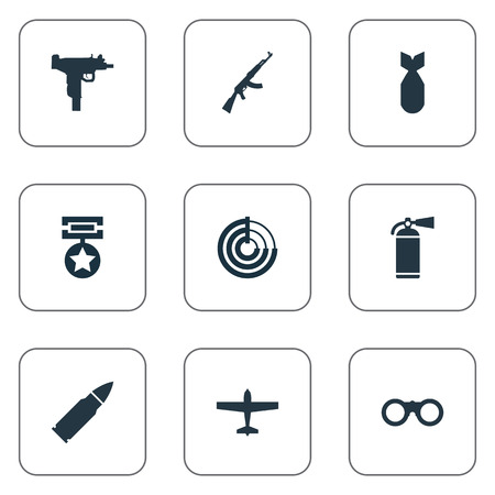 Vector Illustration Set Of Simple War Icons. Elements Kalashnikov, Radio Locator, Extinguisher And Other Synonyms Order, Fire And Glasses.