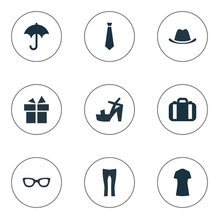 Vector Illustration Set Of Simple Dress Icons. Elements Footwear, Cotton Fabric, Tie And Other Synonyms Protect, Cap And Leggings. Illustration