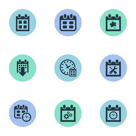 almanac: Vector Illustration Set Of Simple Calendar Icons. Elements Almanac, Planner, Leaf And Other Synonyms Reminder, Repair And Time.