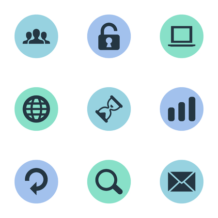 Vector Illustration Set Of Simple Practice Icons. Elements Sand Timer, Community, Magnifier Synonyms Computer, Laptop And Refresh.