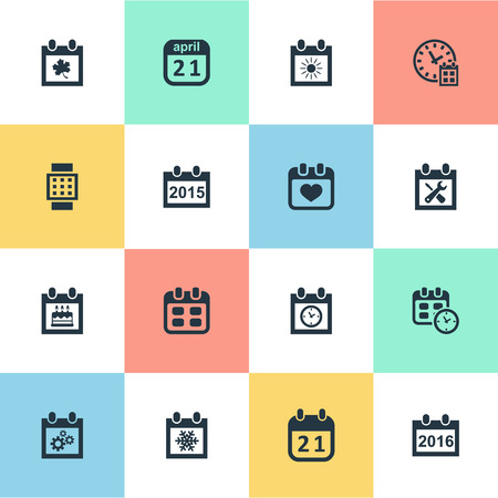 calender icon: Vector Illustration Set Of Simple Calendar Icons. Elements Annual, Planner, Heart And Other Synonyms Wheel, Calendar And Day. Illustration