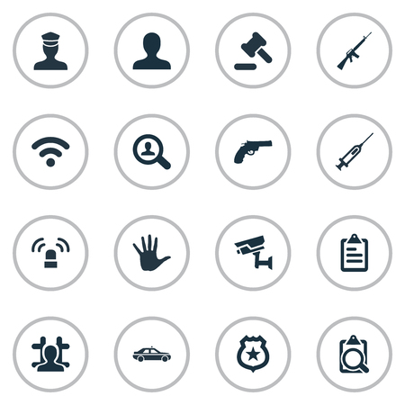 Vector Illustration Set Of Simple Police Icons. Elements File, Policeman Star, Internet And Other Synonyms Hammer, Detective And Volunteer.