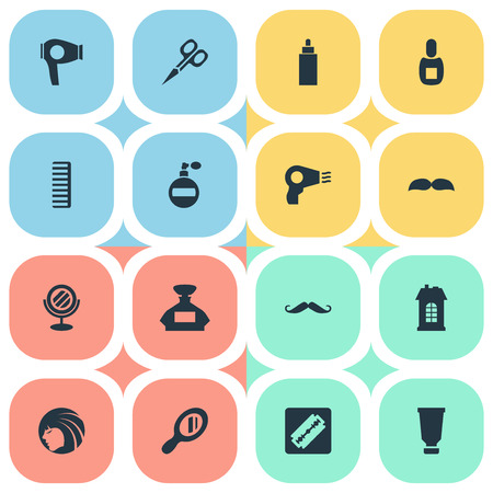 Vector Illustration Set Of Simple Hairdresser Icons. Elements Flask, Premises, Blow Dryer And Other Synonyms Scissors, Glass And Odor.