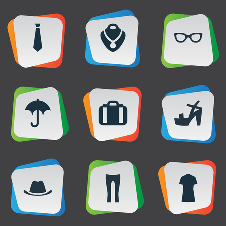 brolly: Vector Illustration Set Of Simple Clothes Icons. Elements Glasses, Cotton Fabric, Brolly And Other Synonyms Male, Tie And Cap.