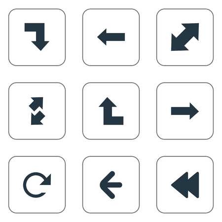 Vector Illustration Set Of Simple Indicator Icons. Elements Left Direction, Circular, Left Direction And Other Synonyms Reload, Direction And Upwards. 向量圖像