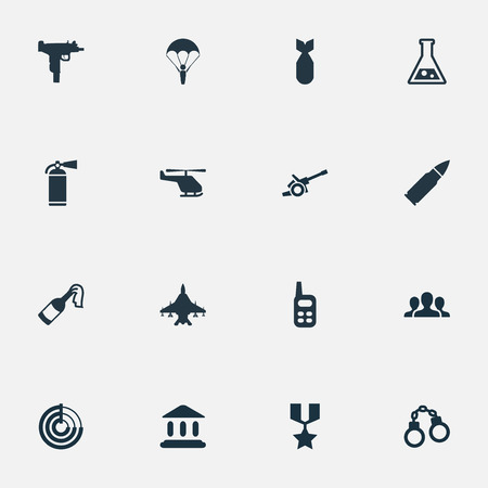 nuke: Vector Illustration Set Of Simple War Icons. Elements Nuke, Firearm, Manacles And Other Synonyms Force, Chemistry And Team.