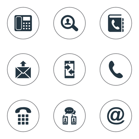 Vector Illustration Set Of Simple Connect Icons. Elements E-Mail Symbol, Job Research, Intercommunication And Other Synonyms Outgoing, Incoming And Handset.
