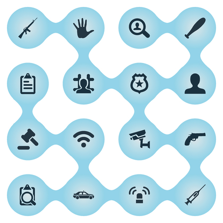 Vector Illustration Set Of Simple Offense Icons. Elements Internet, Arrested, Investigation And Other Synonyms Machine, Searching And Justice.