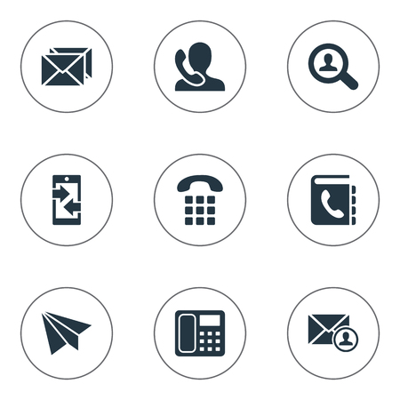outgoing: Vector Illustration Set Of Simple Contact Icons. Elements Monitor, Epistle Author, Telephone Directory And Other Synonyms Epistle, Career And Aircraft.