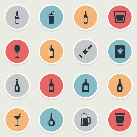 Vector Illustration Set Of Simple Beverage Icons. Elements Vine, Cognac, Bottle And Other Synonyms Grape, Club And Pub. Illustration