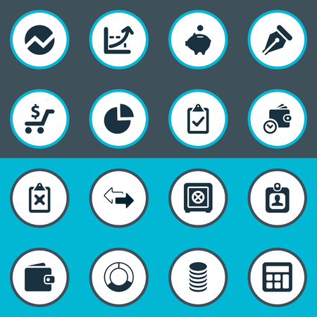 Vector Illustration Set Of Simple Finance Icons. Elements Segmentation, Nib, Two Directions And Other Synonyms Separation, Human And Billfold. 向量圖像