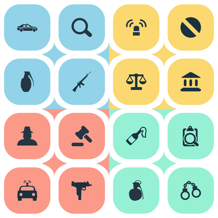 Vector Illustration Set Of Simple Offense Icons. Elements Inspector, Violence, Police Car And Other Synonyms Court, Document And Prescription.