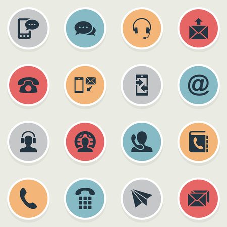 Vector Illustration Set Of Simple Contact Icons. Elements E-Mail Symbol, Telephone Switchboard, Monitor And Other Synonyms Buttons, House And Man. Illustration