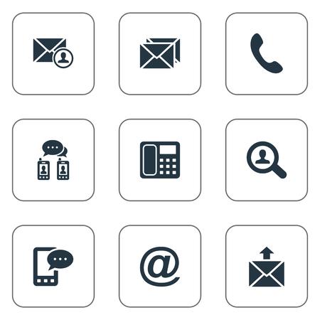벡터 일러스트 레이 션 간단한 연락처 아이콘의 집합입니다. 요소 우표, 게시, 전화 교환 및 기타 동의어 말하기, 전화 및 우편. 일러스트