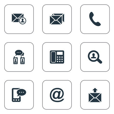 Vector Illustration Set Of Simple Contact Icons. Elements Postage, Posting, Telephone Switchboard And Other Synonyms Talking, Phone And Mail.